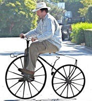 Tom Kabat testing a bike he has not reinvented at woodenbikes.com .... Yet!!